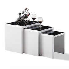 BN Nest of Table Black Glass Top High Gloss White 3 Side/End Coffee Tables