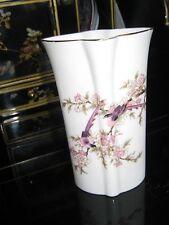 ANTIQUE Kutani Toyo Porcelain Vase Purple Bird Japan Flower Gloss Glaze