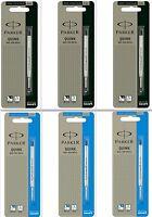6 x Parker Quink Flow BallPoint Pen BallPen Refills Medium 3 Blue + 3 Black New