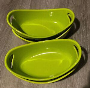 Rachel Ray 12 oz Bubble & Brown Stoneware Side Baker Casserole Dishes 4 GREEN