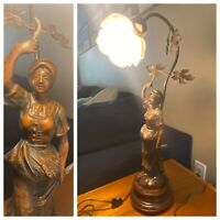 "ANTIQUE Table Lamp Bronze Woman Wheat Harvest Sculpture Floral Shade 22"" Tall"