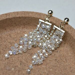 18k yellow gold gf made with Swarovski crystal stud dangle tassel earrings