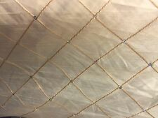 LIGHT GOLD DIAMOND PINTUCK STYLE FAUX SILK FABRIC WITH SEQUINS PER METRE