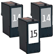 3 Pack 14 & 15 (18C2090 18C2110) Ink Set For Lexmark X2600 X2630 X2650 X2670