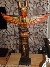 TOTEMPFAHL Totem Holz bemalt 1 m hoch Holz Indianerdeko