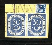 BRD 132, 30 Pf waagrechtes Paar auf Paketkartenabschnitt gestempelt #d609