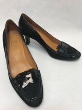 Talbots Womens Pumps Oxford Loafer Heels 7.5 B Black Suede Patent Leather Shoes