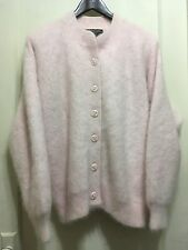 Venesha ANGORA blend Pink LINED Soft CARDIGAN Jacket Fluffy SWEATER COAT L fuzzy