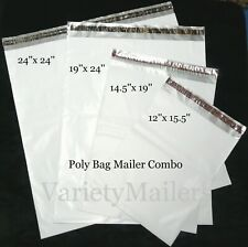 20 Poly Bag Mailer Variety Pack 4 Large Sizes 25 Mil Quality Shipping Bags