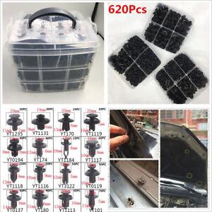620Pcs 16 Kinds Car Fastener Clips Door Bumper Panel Fender Retainer Push Rivets