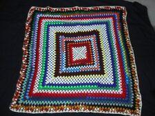 "Granny Square Afghan Afgan Throw Blanket 42"" x 42"" Crochet Multi Color FREE SHIP"