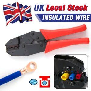 """9"""" Ratchet Crimper Plier Cable Wire Electrical Crimp Terminals Crimping Kits UK"""