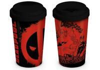 Deadpool red black comic unicorn thermal ceramic travel mug (One Size)