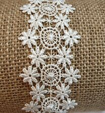 4cm width 3m of double edge lace fringe trimming navy with off white pattern