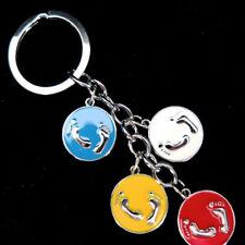 KEY RING CHARM, 4 ENAMELLED METAL  FOOT PRINT/FEET  CHARMS, 3cm DIAM SPLIT RING,