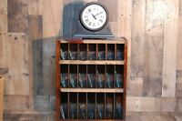 Vintage C & E Marshall Co. Clock Glass Cabinet with 25 individual glass slots, 2