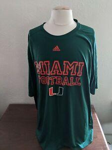 University of Miami Hurricanes Football S/S Training Shirt Green Adidas Size 4XL