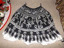 Magic black & white w/silver beads A-line mid-calf length cotton skirt size 1X