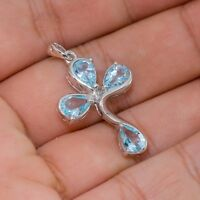 EARTH MINED 7X5MM SKY BLUE TOPAZ RARE CROSS DESIGN STERLING SILVER 925 PENDANT
