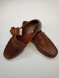 Men's New Leather Slip On Basket Weave Moccasin Loafer Shoes  black/Tan 6 to 12
