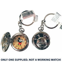 Disney Parks Mickey Mouse Pocket Watch Clock Keyring Vintage Disneyland Paris