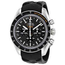 Omega Speedmaster Black Carbon Fibre Dial Chronograph GMT Rubber Men's Watch