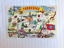 Postcard Greetings From Tennessee Map Points Of Interest Souvenir