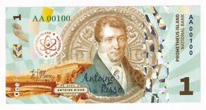 Prometheus Island 1 Franc 2020 POLYMER Antoine Risso PRIVATE ISSUE UNC (e311)