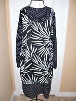 Women's~DOUBLE LAYER~Black&White Floral/Polka Dots Side Slits Dress size M~CUTE~