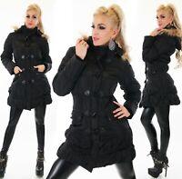 Damen Winter  Mantel A Linie lange Jacke tailliert gefüttert Webpelz Kapuze