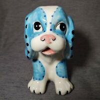 Vintage Planter Hound Dog Beagle Puppy Blue White Pink Polka-Dot Ceramic
