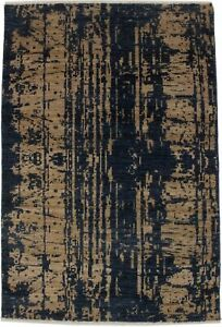 Contemporary Art Deco Navy Beige 4X6 Modern Abstract Oriental Area Rug Carpet