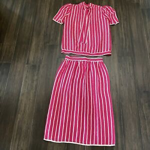 Miss O Oscar De La Renta Vintage Pink White Silk Skirt & Top Suit Size 8