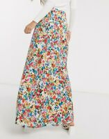 Neon Rose Maxi Skirt Size UK XS  8 White In Vintage Floral Print NEW GK19