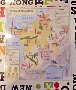 Affiche Set de Table Poster France Céréales Légumes Blé Orge Sarrazin Maïs Riz