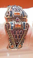 "Heidi Daus Vintage Bangle Bracelet with Swarovski Crystals Cut & Cabechons 7.5"""