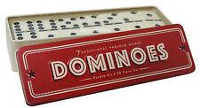 Le tessere del domino in un gioco di latta doppio sei 28 Set Nuovo