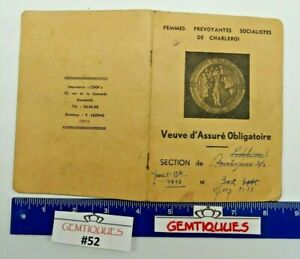 ANTIQUE VINTAGE Belgian Widow Identification cardboard sided (Booklet)