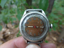"Vintage Crawford Mechanical WW I Era Pink Face Watch 1940's Silver ""I THINK"""