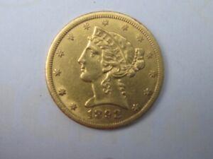 1892-CC LIBERTY HEAD HALF EAGLE $5 DOLLAR COIN AMAZING AU++ NICE CARSON CITY