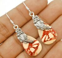 Leaf Natural Brecciated Mookaite 925 Sterling Silver Earrings Jewelry ED35-5