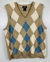 Brooks Brothers Lambs Wool Sweater Vest Argyle Mens Size XL Tan Blue White EUC