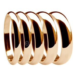 9ct Rose Red Gold D-Shape Wedding Rings Heavy 2mm 3mm 4mm 5mm 375 UK Hallmarked