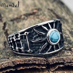 MENDEL Mens Sun Turquoise Biker Band Ring Stainless Steel Size 7 8 9 10 11 12-15