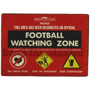Football Watching Zone Metal Sign - Ministry of Chaps by Harvey Makin - Funny