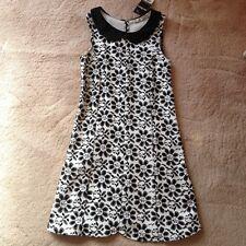 Miss Selfridge Petites black & white pattern dress size 8 Brand New with tag