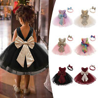 Baby Girls Sequins Bowknot Dresses Lace Pageant Party Wedding Tutu Gown Hairband