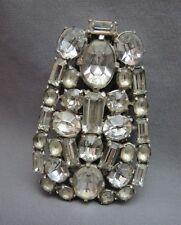 """VTG Large Rhinestone Dress Clip Brooch 3"""" High Silver Tone Emerald Cut Stones"""