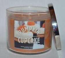 BATH BODY WORKS PUMPKIN CUPCAKE CANDLE 3 WICK 14.5 OZ LARGE BUTTERCREAM FROSTING