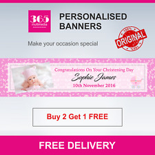 Personalised Christening Banner - Girl - Free Delivery - D012